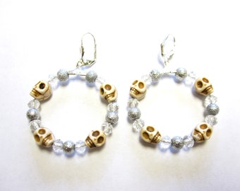 Sugar Skull Earrings Day of The Dead Jewelry White Hoop