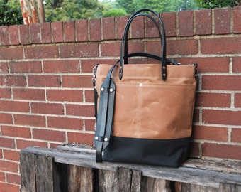 Waxed Canvas Tote Bag with Leather Handles/Shoulder Strap/Magnetic Closure - Brown & Black Color Blocked Tote
