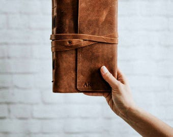 Travelers Notebook Sketch Book Brown Leather Journal Personalized Monogram  Leather Bound Notebook travelers notebook handbound blank book
