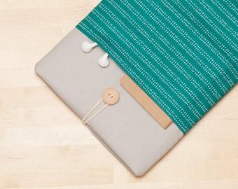 iPad Pro sleeve, iPad Pro 12.9 inch case, 12.9 inch iPad Pro sleeve,  iPad Pro cover - Teal lines