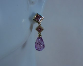 14kt Yellow Gold and Amethyst Dangle Earrings