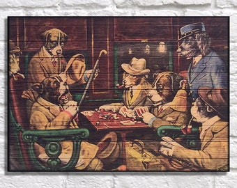 Dog Portrait gift for him Wood wall art Dogs playing poker Famous painting Birthday gift for Men Gift for Husband panel effect wood print