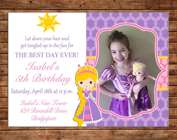 Girl Photo Invitation Princess Long Hair Birthday Party - Can personalize colors /wording - Printable File or Printed Cards