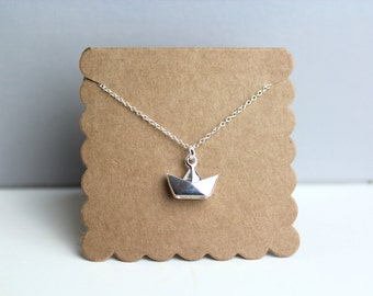 Origami Boat Necklace // dainty sterling silver necklace // with gift packaging