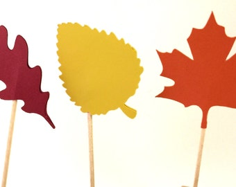 12 Fall Leaf - Cupcake Toppers - Select a Color - food Picks - Party Decor - Thanksgiving Decor - Fall cupcakes - Thanksgiving cupcakes