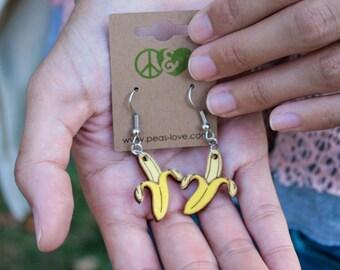 Wooden Banana Dangle French Hook Earrings - Peeling Banana - Laser Cut - Hand Painted - Surgical Steel - Vegan Earring - 25% Profits Donated