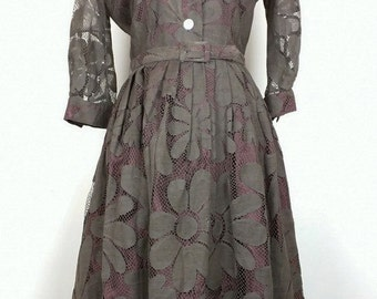 Vintage Dress Brown Floral Lace with Belt Womens S 60s Pava Design