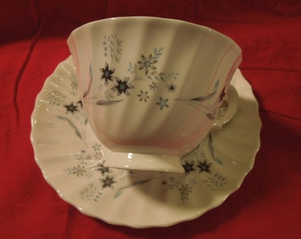 """Royal Doulton """"MilleFleur"""" Footed Tea Cup and Saucer - Set of 2"""