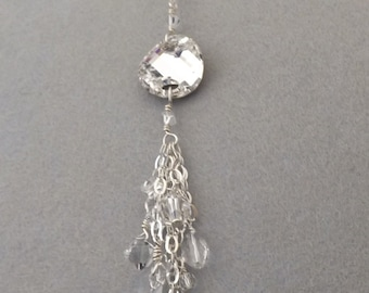 """30"""" Sterling silver chain cluster neclace made with clear Swarovski crystals."""