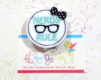 Nerds Rule Badge Holder  /   Badge Reel / Nerd ID Holder / Retractable ID Badge Holder / Medical / Office-Badge Reel Clip- (Set of 1)