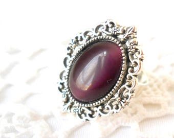 1 purple ring victorian ring purple victorian ring vintage style ring adjustable ring silver and purple ring purple jewelry boho jewelry