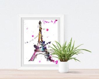 Eiffel Tower Art Print/ Instant Download/  Wall Art/ Room Decor/ Nursery Art Print