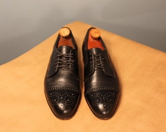 Vintage Dexter Black Leather Wingtip Oxford Shoes Men's Size 8.5 Made in the USA