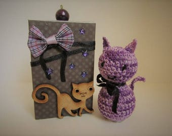 Halloween! Pussy cat, purple in its box to match