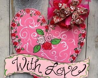 Valentines door hanger, valentines sign, valentines door sign, heart door hanger, heart door sign, with love door sign,  love door hanger,