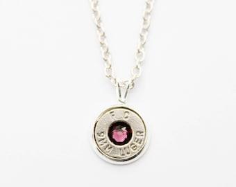 Silver & Amethyst Dainty Bullet Charm Necklace