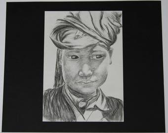 Design: portrait of a Buddhist monk