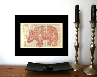 Rustic Home decor | Wall decor | Albrecht Duerer Rhino Art Print | Farmhouse decor | Vintage | Shabby Chic | Book Art | Housewarming Gift