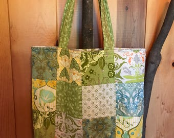Patchwork Market Tote, Quilted Market Tote, Quilted Shopping Bag, Market Tote, Grocery Bag