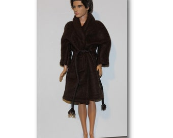 Brown Robe  for - 1:6 Scale Male Fashion Dolls.l  Clothes are Handmade in the USA (Ken doll not included)