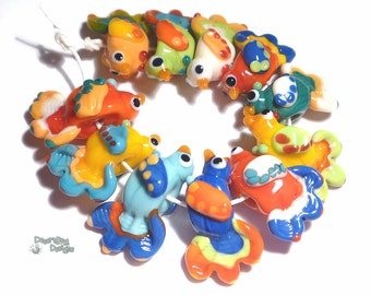 PAJARITOS Lampwork Beads Handmade Birds in Bold Colors of Blue Yellow ivory Green Red  Set of 11