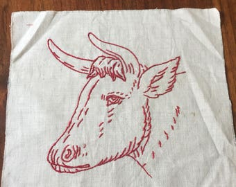 True Vintage Redwork Penny Muslin Quilting Square - Cow with Horns
