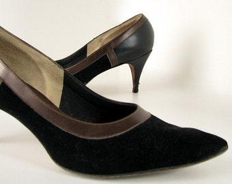Vintage 1960's Black Mad Men Stiletto High Heel Pumps by Del Liso Debs, Size 7
