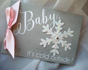 Baby It's Cold Outside Shower, Snowflake Baby Shower Invitation, Winter Baby Shower Invite Set, Baby Girl Pink and Gray Shower Invitations
