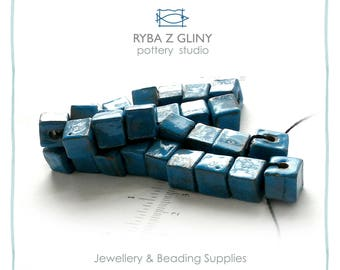 Ceramic Square Beads, 0.9-1.0 cm, Clay Bead, Jewelry Beads, Blue Beads, Pottery Beads, Nautical Beads, Handmade Beads, Glazes beads.