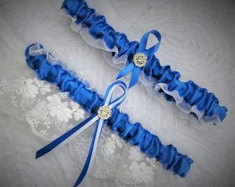 Something Blue Wedding Garter Set, Bridal Garter, Keepsake and Toss-away Garter Set, Wedding Garter, Lace Garter, Royal Blue & White Garter