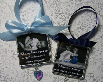 Ornement de Photo personnalisé, soudé en verre, personnalisé, cadeau de fête des mères, Baby Shower, premier Noël, cadre Photo de famille
