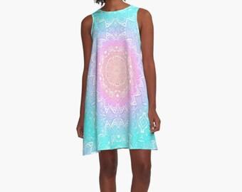 Boho Dress Mandala Aqua Pink Purple Mandala Sleeveless Bohemian Hippie Festival Short Women Woman Ladies Lady  Miss XS - XL 2XL