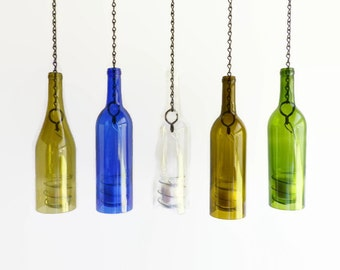 Glass Wine Bottle Candle Holder Hanging Hurricane Lantern Set
