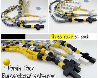 Childs Rosary First Communion Set of Three - Children Catholic Rosary Made of Lego Bricks - Black, Gray, Yellow Rosary