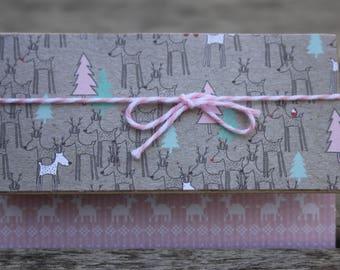 Christmas Gift Card Holder, Pink Reindeer Gift Card Holder, Holiday Gift Card Holder