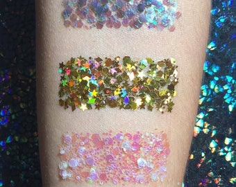 Holographic Glitter Trio | Cosmetic face & body Glitter | Shine Shack and Burnt Soul
