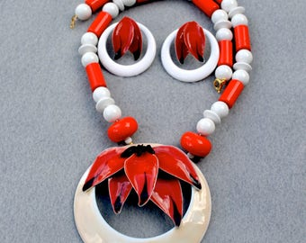 Enamel Floral Red and White Necklace & Earrings Vintage