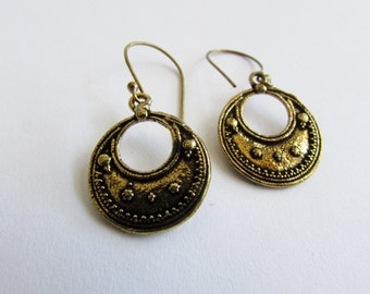 Mandala Design Circle  Earrings handmade, Brass hanging Tribal Jewellery Gift boxed, Free UK post BG5