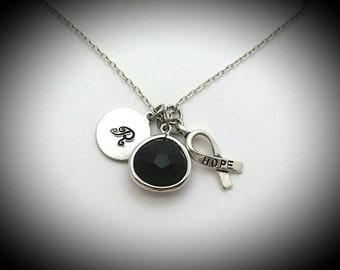 Melanoma cancer awareness,Skin cancer awareness,Melanoma jewelry,Cancer survivor,Hope for a cure jelwery,Melanoma necklace,Hope necklace
