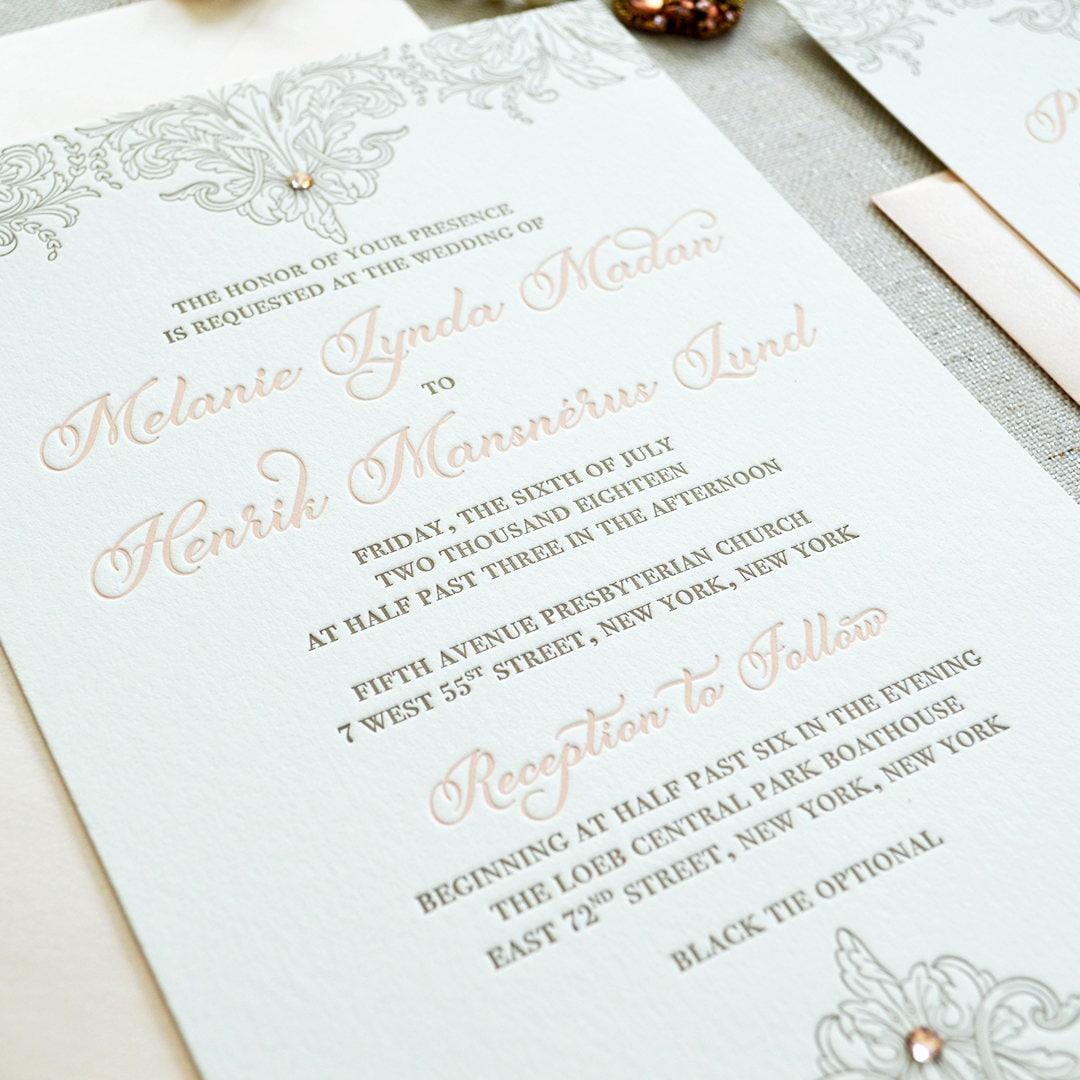 MELANIE - Luxurious Letterpress Wedding Invitation - Double Thick ...