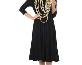 A-Line Trapeze Midi Dress Black