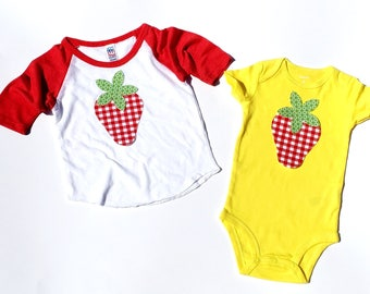 Strawberry & Stem . Fabric Iron On Appliques