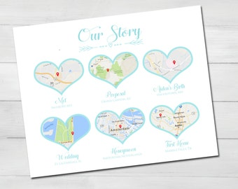 Our Story Heart Shaped Maps with Location Markers