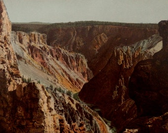 """Antique print.1901.Landscape.""""The Grand Canyon of Yellowstone """" 115 year old print.Earth and Life.Prof.Ratzel.9.8x6.6"""" or 25x17 cm."""