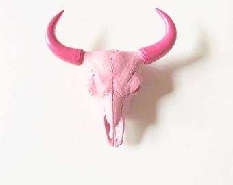 LITE PINK, BuBBLe GuM Pink, SMALL Faux Bison Skull, Faux Taxidermy, Small Animal Head, Pink Skull, Faux Skull, Fake Skull, Skull Wall Mount