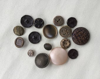 Vintage Buttons Lot - Brown - Button Bib Necklace Lot - 020