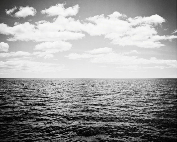 Black and white ocean photography landscape print seascape photo dark grey gray sea seashore wall photograph what lies over the horizon