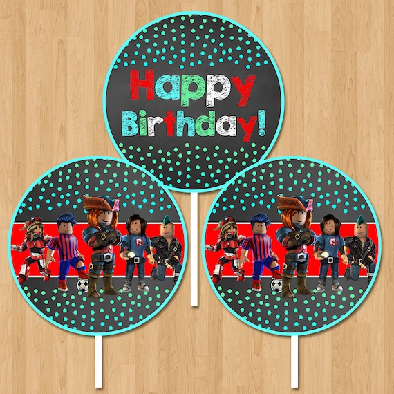 Roblox Happy Birthday Centerpiece - Chalkboard Roblox Birthday Centerpiece - Roblox Party Supplies - Roblox Party Favors - Roblox Printables