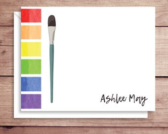 Watercolors Note Cards - Folded Note Cards - Personalized  Stationery - Paintbrush Thank You Notes - Illustrated Note Cards
