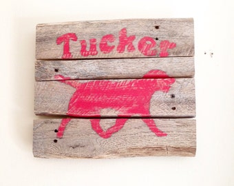 Personalized (choose a name) Labrador Dog Silhouette Sign from Reclaimed Wood (Red)